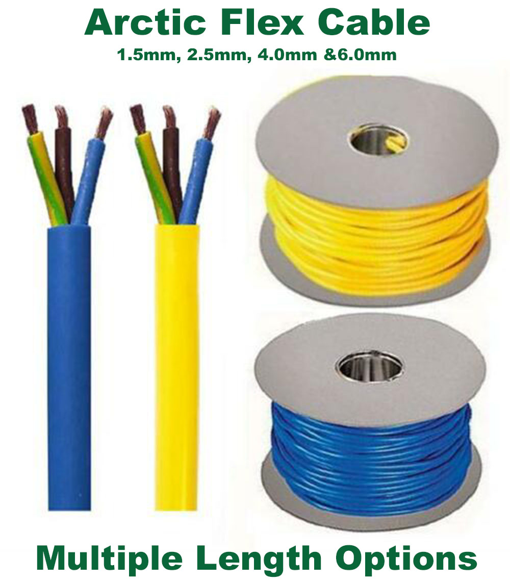 Arctic Flexible 3 Core insulation Cable 2.5mm. Blue /& Yellow 3183AG 1.5mm