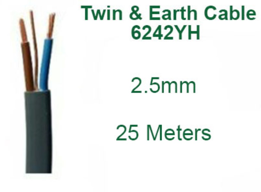 25 Meter Drum 1.5mm 6242Y Twin and Earth Mains Lighting Cable 15 Amp