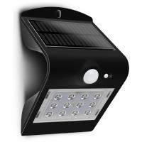 Luceco LED Solar Wall Light with PIR 220lm Black LEXS22B40