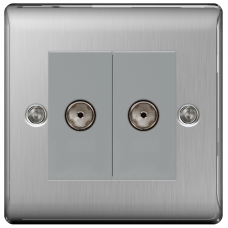 BG NBS61 Brushed Steel Double Co-Axial Socket 2 Gang