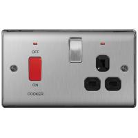 BG NBS70B Cooker Control Unit + Socket Neon 45A Black Insert
