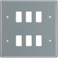 BG RMC6 Grid Frontplate 6 Gang Metal Clad