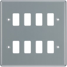 BG RMC8 Grid Frontplate 8 Gang Metal Clad