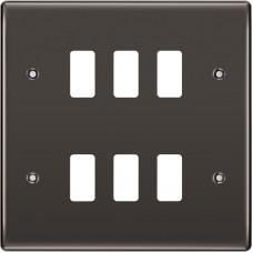 BG RNBN6 Grid Frontplate 6 Gang Black Nickel