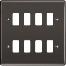 BG RNBN8 Grid Frontplate 8 Gang Black Nickel