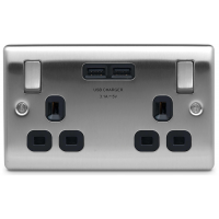BG NBS22U3B Switched Double Socket 2G USB 13A Black Insert