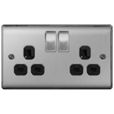 BG NBS22B Switched Double Socket 2G DP 13A Black Insert