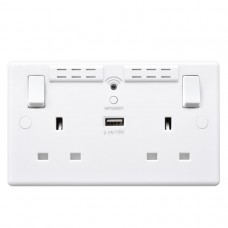 BG Nexus White Double Socket Wifi Repeater & USB - 822UWR