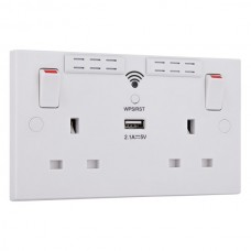 BG Double Socket with WiFi Range Extender and USB Charger White Square