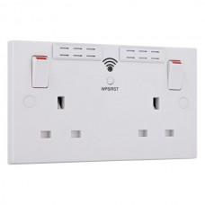 BG Double Socket with WiFi Range Extender White Square
