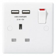 BG Nexus White Single Socket with USB - 821U2
