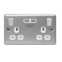 BG Nexus Metal Clad Double Socket with USB - MC522U3