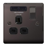 BG Nexus Black Nickel Single Socket with USB - NBN21U2B