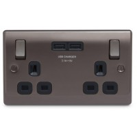 BG Nexus Black Nickel Double Socket with USB - NBN22U3B