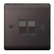 BG Nexus Black Nickel Double Light Switch - NBN42