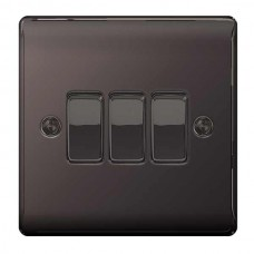 BG Nexus Black Nickel Triple Light Switch - NBN43