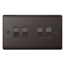 BG Nexus Black Nickel Quad Light Switch - NBN44