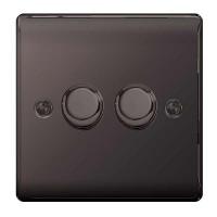 BG Nexus Black Nickel Double Dimmer Switch - NBN82P