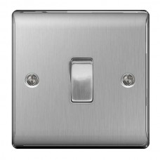 BG Nexus Brushed Steel Single Light Switch - NBS12