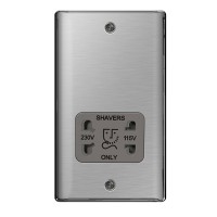 BG Nexus Brushed Steel Dual Voltage Shaver Socket - NBS20G