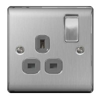 BG Nexus Brushed Steel Single Socket - NBS21G