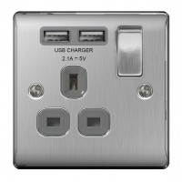 BG Nexus Brushed Steel Single Socket with USB - NBS21U2G