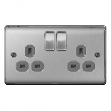 BG Nexus Brushed Steel Double Socket - NBS22G