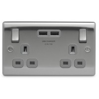 BG Nexus Brushed Steel Double Socket with USB - NBS22U3G