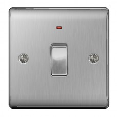 BG Nexus Brushed Steel Double Pole Switch with Neon - NBS31