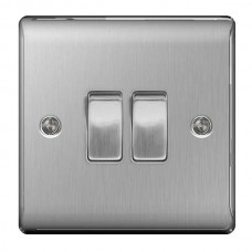 BG Nexus Brushed Steel Double Light Switch - NBS42