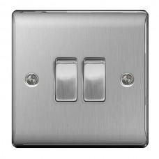 BG Nexus Brushed Steel Double Light Switch - NBS42