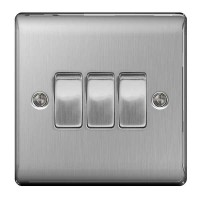 BG Nexus Brushed Steel Triple Light Switch - NBS43
