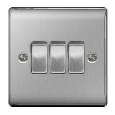 BG Nexus Brushed Steel Triple Light Switch - NBS43