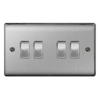 BG Nexus Brushed Steel Quad Light Switch - NBS44