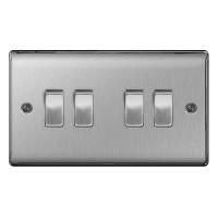 BG Nexus Brushed Steel Quad Light Switch - NBS44