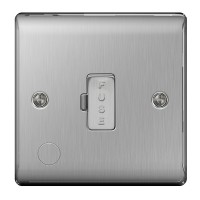 BG Nexus Brushed Steel Unswitched Spur with cable - NBS55