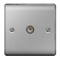 BG Nexus Brushed Steel TV Aerial Socket - NBS60