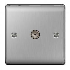 BG Nexus Brushed Steel TV Aerial Socket - NBS60