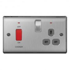 BG Nexus Brushed Steel Cooker Unit with Socket & Neon - NBS70G