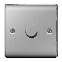BG Nexus Brushed Steel Single Dimmer Switch - NBS81P