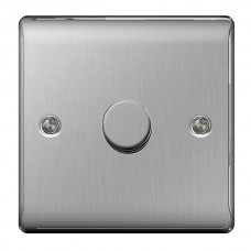 BG Nexus Brushed Steel Single Dimmer Switch - NBS81P