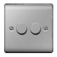 BG Nexus Brushed Steel Double Dimmer Switch - NBS82P