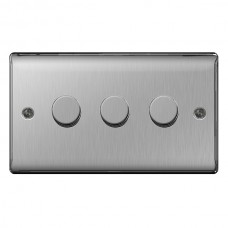 BG Nexus Brushed Steel Triple Dimmer Switch - NBS83P