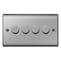 BG Nexus Brushed Steel Four Switch Dimmer - NBS84P