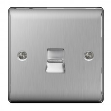BG Nexus Brushed Steel Slave Telephone Socket - NBSBTS1