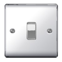 BG Nexus Polished Chrome Single Light Switch - NPC12