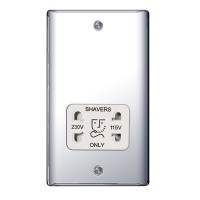 BG Nexus Polished Chrome Dual Voltage Shaver Socket - NPC20W