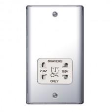 BG Nexus Polished Chrome Dual Voltage Shaver Socket - NPC20W