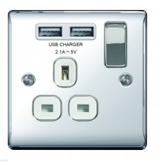 BG Nexus Polished Chrome Single Socket with USB - NPC21U2W