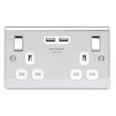BG Nexus Polished Chrome Double Socket with USB - NPC22U3W